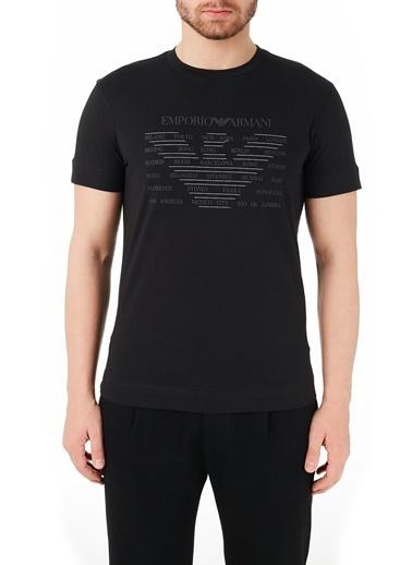 Emporio Armani  Bisiklet Yaka % 100 Pamuk T Shirt Erkek T Shırt 3K1Te1 1Julz 0999 Siyah
